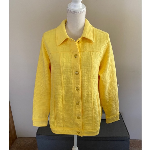 Isaac Mizrahi Yellow Quilted Knit Jacket Size 1X